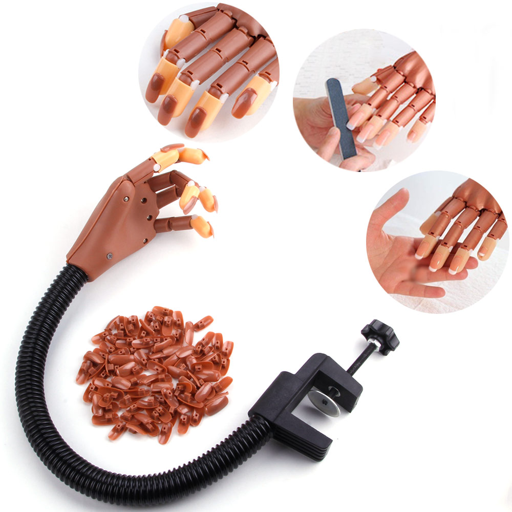 1 Practice False Hand+100pcs Nail Tip Flexible Holder Adjustable DIY Nail Art Model Hand Manicure Tool Training Supply Movable