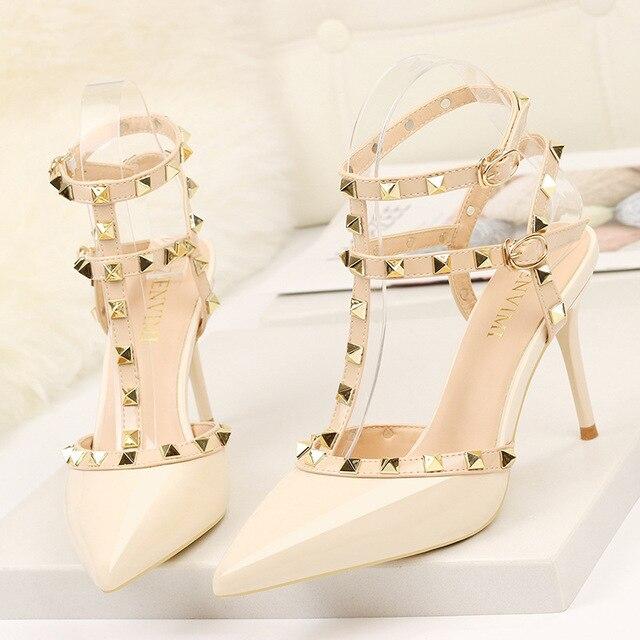 rivet high heels luxury designer women shoes ladies pumps sexy spring summer 2019 fashion sandals office dress white black shoes