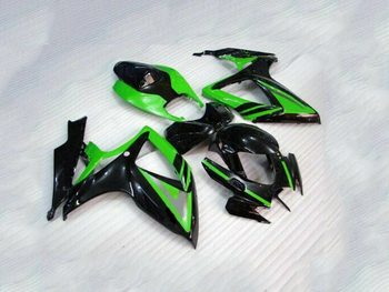 GSXR 600 750 Black w/ Green Complete Injection Fairing Kit For 2006-2007 Suzuki GS-XR GSX-R 600 750