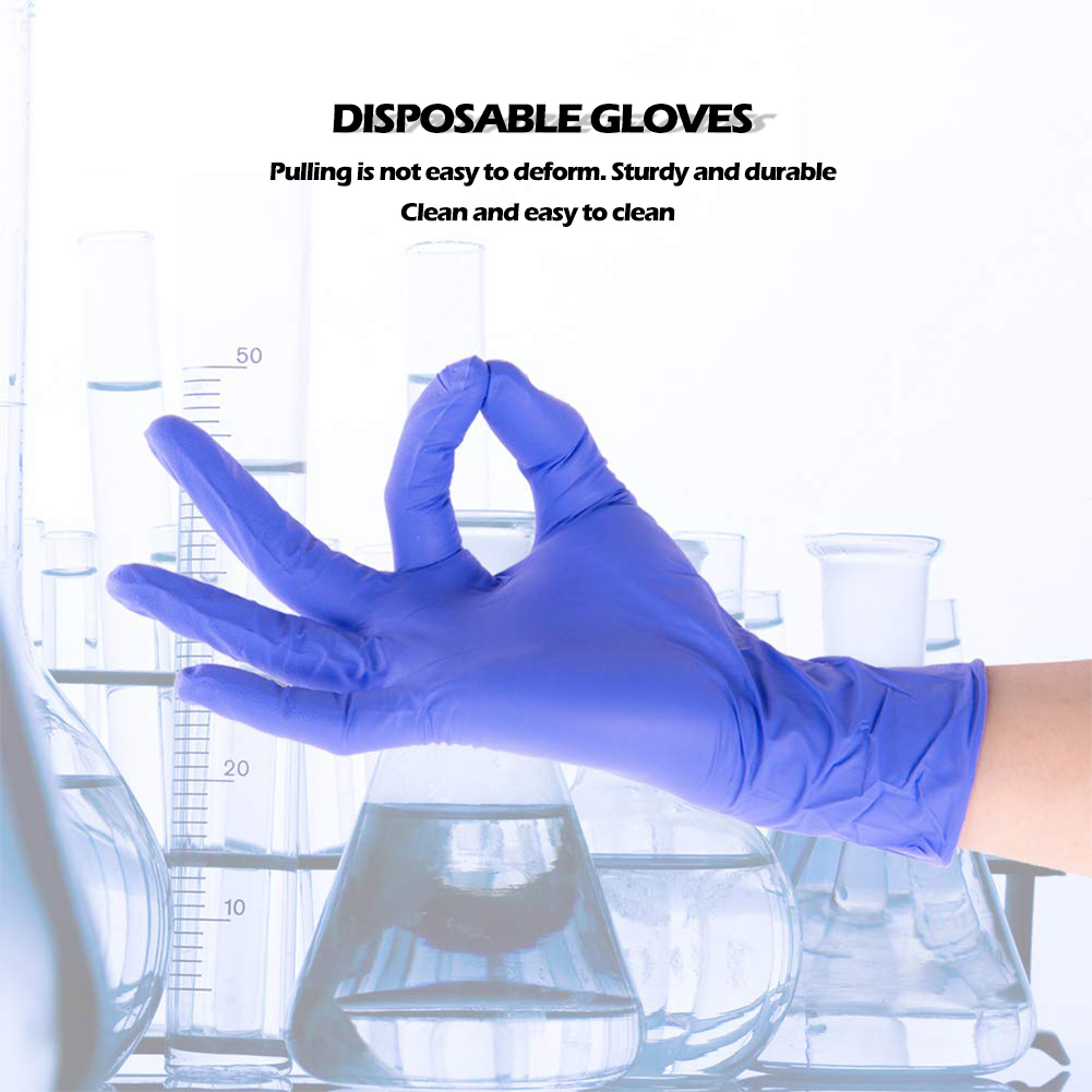 Image 5 - 100pcs/set Nitrile Gloves NBR PPE Disposable Dustproof Cleaning Home Garden Gloves Food Mechanism Testing Household CleaningSafety Gloves   -
