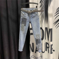 Street Style High Waist Jeans Slim Fit Ankle-Length Pants Women 2021 Spring New Sequined Patch Streetwear Fashion Pencil Pants