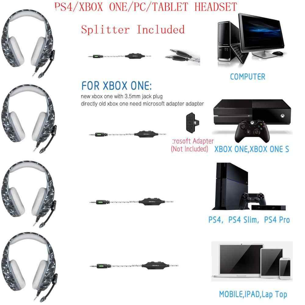 ONIKUMA K1 ゲーミングヘッドフォン迷彩有線重低音ヘッドセット Casque とマイクのラップトップ Pc ゲーマー PS4 携帯