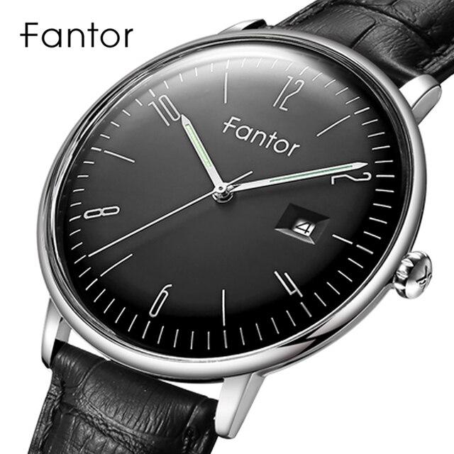 Fantor Casual Dress Mannen Eenvoudige Klassieke Horloge Heren Topmerk Luxe Quartz Lederen Horloges Relogio Masculino