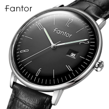 Fantor Casual Dress Men Simple Classic Wrist Watch Mens Top Brand Luxury Quartz Genuine Leather Watches Relogio Masculino
