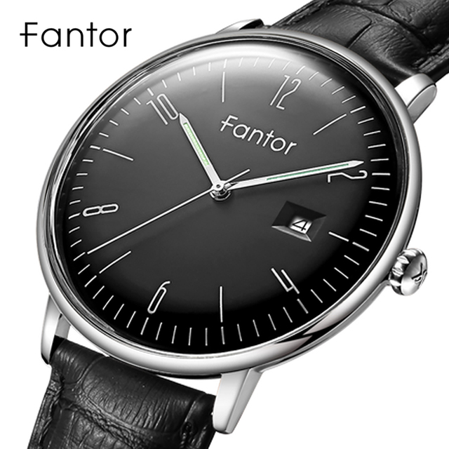 Fantor שמלה מזדמן גברים פשוט קלאסי שעון יד Mens למעלה מותג יוקרה קוורץ אמיתי עור שעונים Relogio Masculino