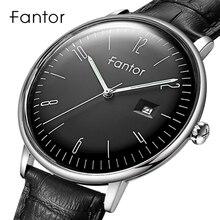 Fantor montre bracelet Simple classique pour hommes, marque supérieure de luxe, à Quartz, en cuir véritable, tenue décontractée