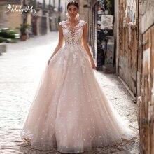 Adoly Mey romantik Scoop boyun Backless A Line düğün elbisesi 2020 Cap Sleeve aplikler fırça tren prenses gelin kıyafeti artı boyutu