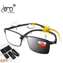 Photochromic Myopia 푸른 빛 차단 안경 컴퓨터 남자 디옵터 카멜레온 선글라스 게이머 안경 0.50 1.75 5 6.0