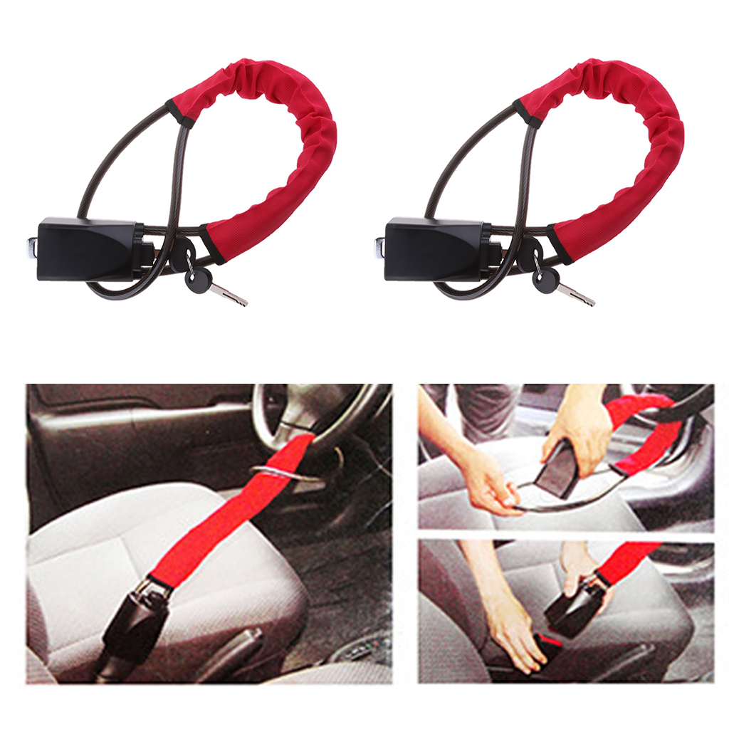 2x Universal Car Theft Protection Car Anti Theft Steel Locking Steering Wheel Lock Strap Car Security Lock Anti Furto Carro 57cm