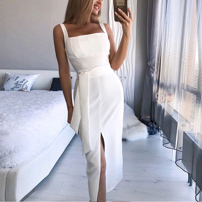 DeRuiLaDy 2019 Summer Straps Party Dress For Women Sexy Sleeveless Bodycon Midi Dresses Womens Casual Off Shoulder Club Dress