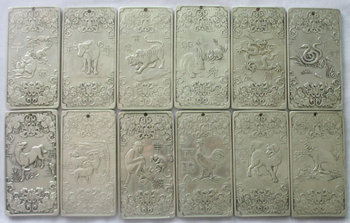 Free shipping 12Pcs Old Chinese Twelve Zodiac Miao Silver Bullion thanka statue/Sculpture amulet