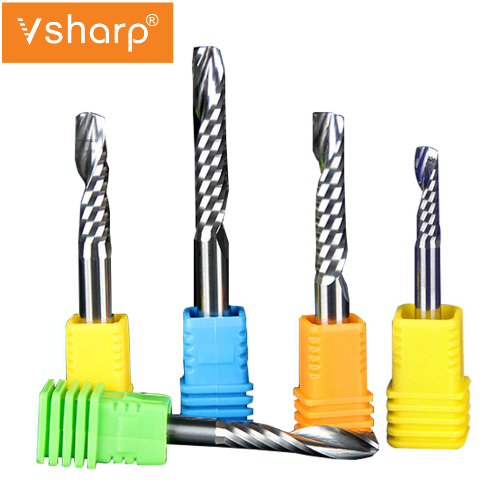 6mm 8mm Shank 1 Flute Spiral CNC Milling Cutter Tungsten Carbide Engraving End Mill Machine Tools Router Bits For PVC Acrylic