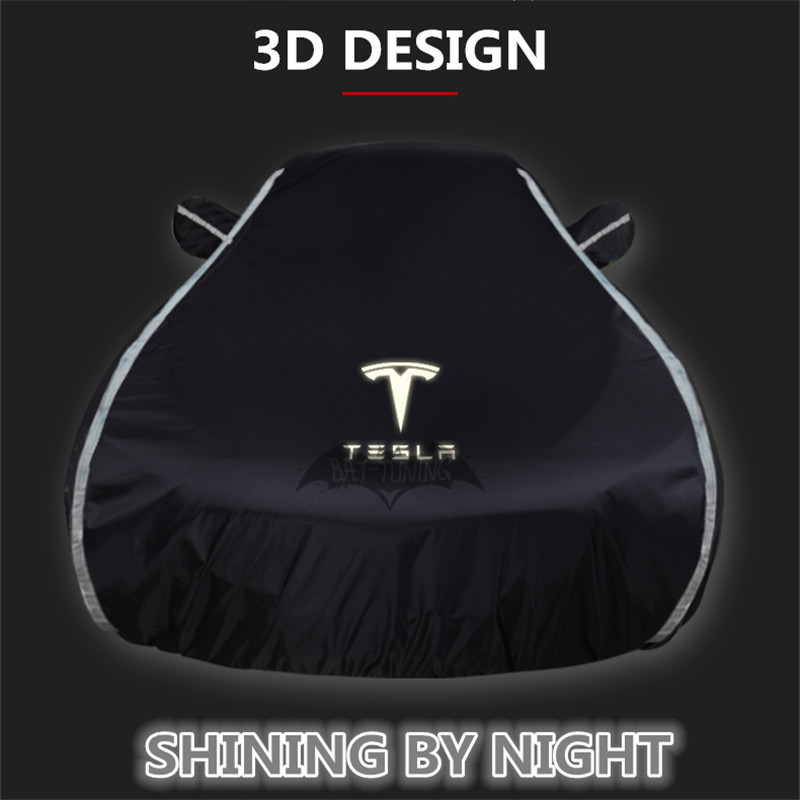 1X Full Car Cover For Tesla Model 3 Model S Model X All Weather UV Protection Waterproof Sunscreen With 3D Noctilucent Stripes