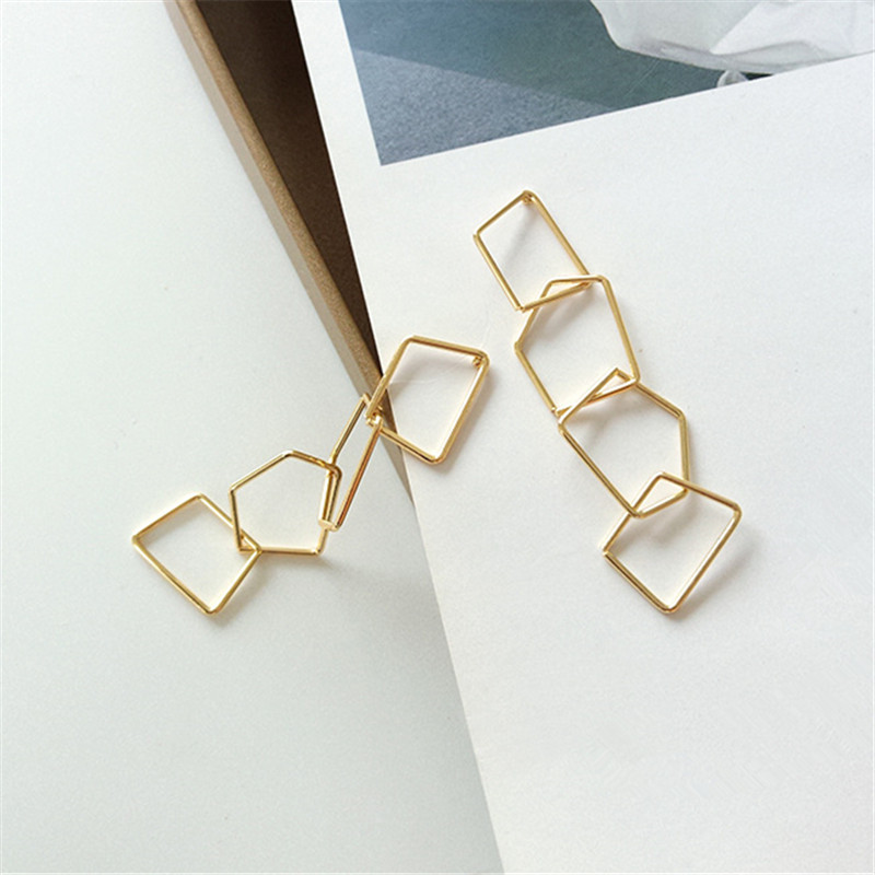 Punk Stud Earrings Contracted Fashion Temperament Long Earrings Geometrical Irregular Shape Tassel Earrings Women Jewelry
