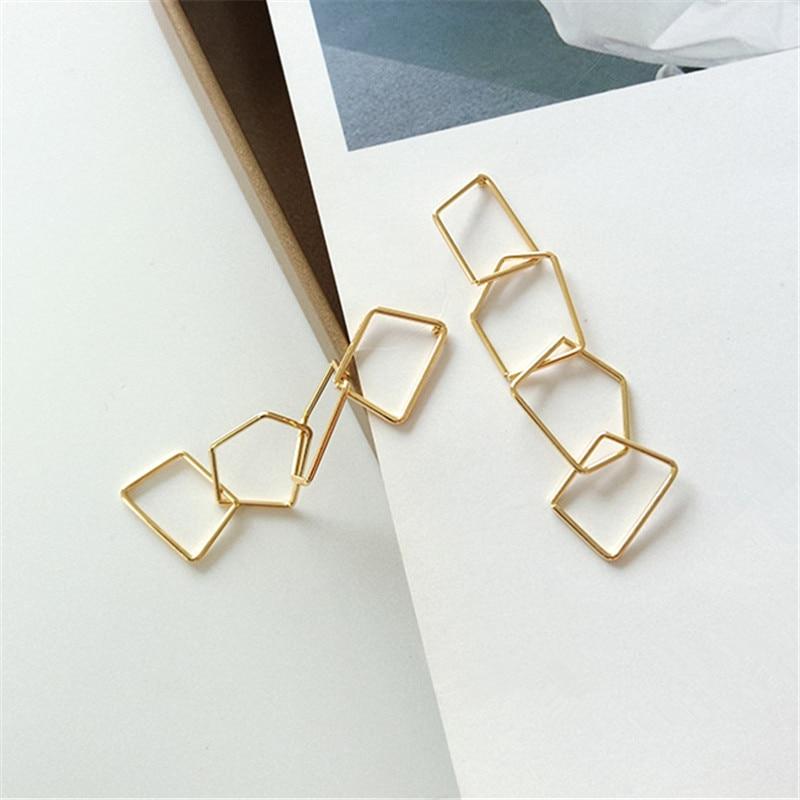 Punk Stud Earrings Contracted Fashion Temperament Long Earrings Geometrical Irregular Shape Tassel Earrings Women Jewelry