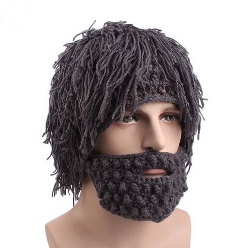 Оригинальный дикарский парик борода ручная вязанная шапка карнавальный подарок на день всех святых украшение шапочки мужские шерстяные го...