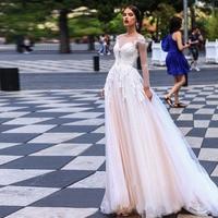 Pink Elegant Tulle Sweetheart Wedding Dress White Ivory Long Sleeve Bridal Dresses Lace Wedding Gown Vestido De Noiva 2020