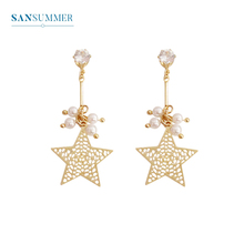 SANSUMMER Pure Copper Hollow Five Pointed Star Pearl Water Drill Long 2019 New Fashionable Ear Studs Temperament Female 6345