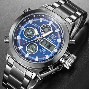 Image 5 - AMST spor askeri saatler erkekler su geçirmez 50M saat Chronograph aydınlık eller dur izle erkekler Analog dijital saat erkek Relogio