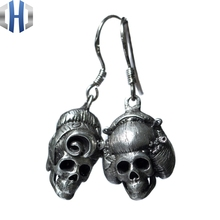 Original Design Handmade Silver Skull Earrings Personality Ear Hook 925 Sterling Female Retro