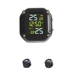 Image 2 - with Time USB Charging Motorcycle TPMS Motor Tire Pressure Tyre Temperature Monitoring Alarm System with 2 External Sensors