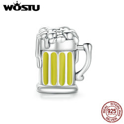 WOSTU 925 Sterling Silver Beer Glass Cup Charms Beads Fit Original Bracelet Necklace Wine Glass Pendant Jewelry Making CQC1671