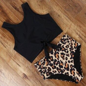 High Waisted Swimsuit Bikini 2020 Push Up Swimwear Women Sexy Bathing Suit Female Vest Bikini Set Leopard Swim Suit Beachwear 1
