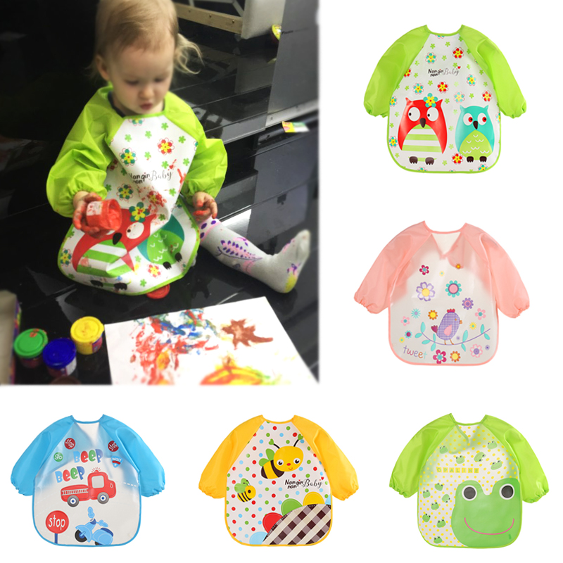 Cute Baby Bibs Waterproof Long Sleeve Apron Children Feeding Smock Bib Burp Clothes Soft Eat Toddler  Clothing Bandana Bibs