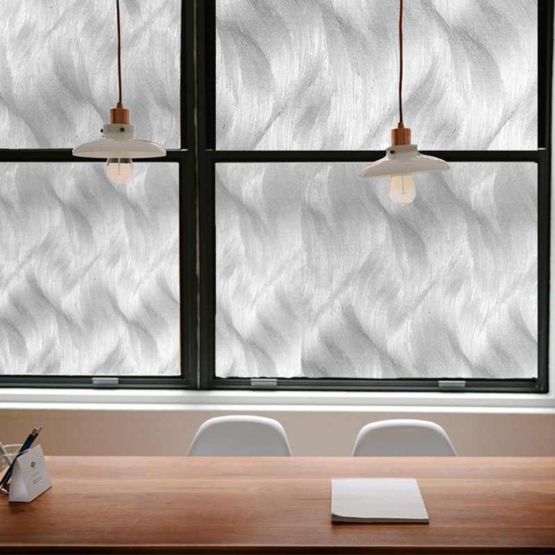 Privacy PVC Self Adhesive Frosted Wave Decorative Window Film Waterproof Office With Glue For Home Kitchen Glass Sticker