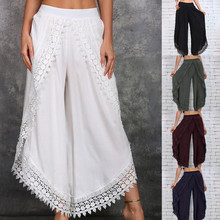 Summer Solid Color Wide Leg Trousers trousers women cargo pants women wide leg pants Plus Size Women Pants Casual Mid Waist Slit new women pants high waist wide leg pants women s elegant lace trousers streetwear plus size women wide leg pants new hot sale