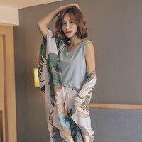 Осенний комплект свободных пижам для дам, хлопковый атласный комплект из 4 предметов, кардиган + жилет + брюки + шорты, Цветочные Печатные Эле...
