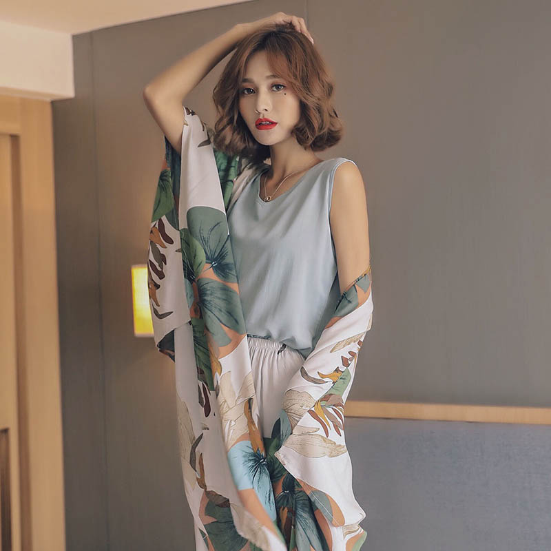 Autumn Ladies Pajama Set Cotton Satin 4Pcs Set Cardigan+Vest+Pants+Shorts Floral Printed Elegant Femme Tender Sleepwear Homewear