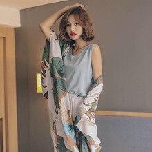 Autumn Ladies Pajama Set Cotton Satin 4Pcs Set