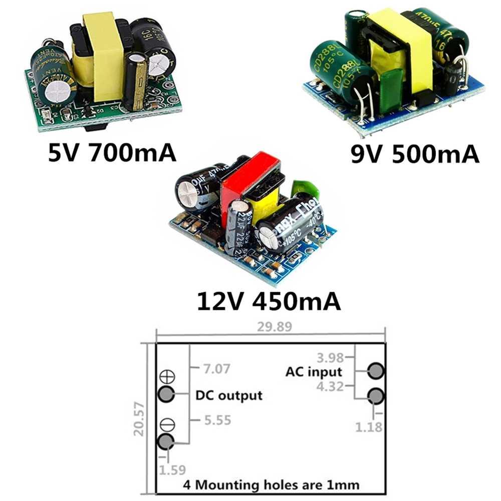 AC-DC 5V 700mA 12V 450mA 9V 500mA 3.5W דיוק באק ממיר AC 220V כדי 5V DC צעד למטה שנאי אספקת חשמל מודול