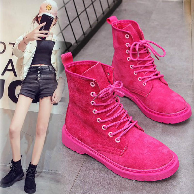 Summer Pink Women Motorcycle Ankle Boots Wedges Female Lace Up Platforms Autumn Winter Snow Botas Mujer