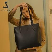 Foxer женская большая сумка из коровьей кожи простая с верхней