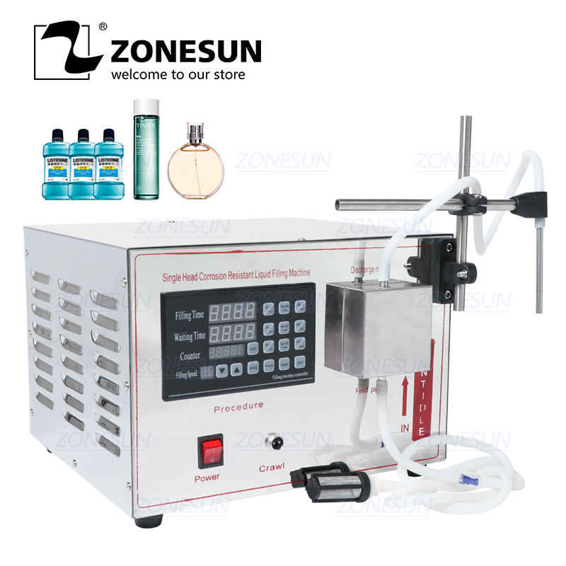 ZONESUN GZ-YG1 Automatic Magnetic Pump Filling Machine Ethanol  Perfume Alcohol Hydrogen Peroxide  Juice Essential Oil Liquid