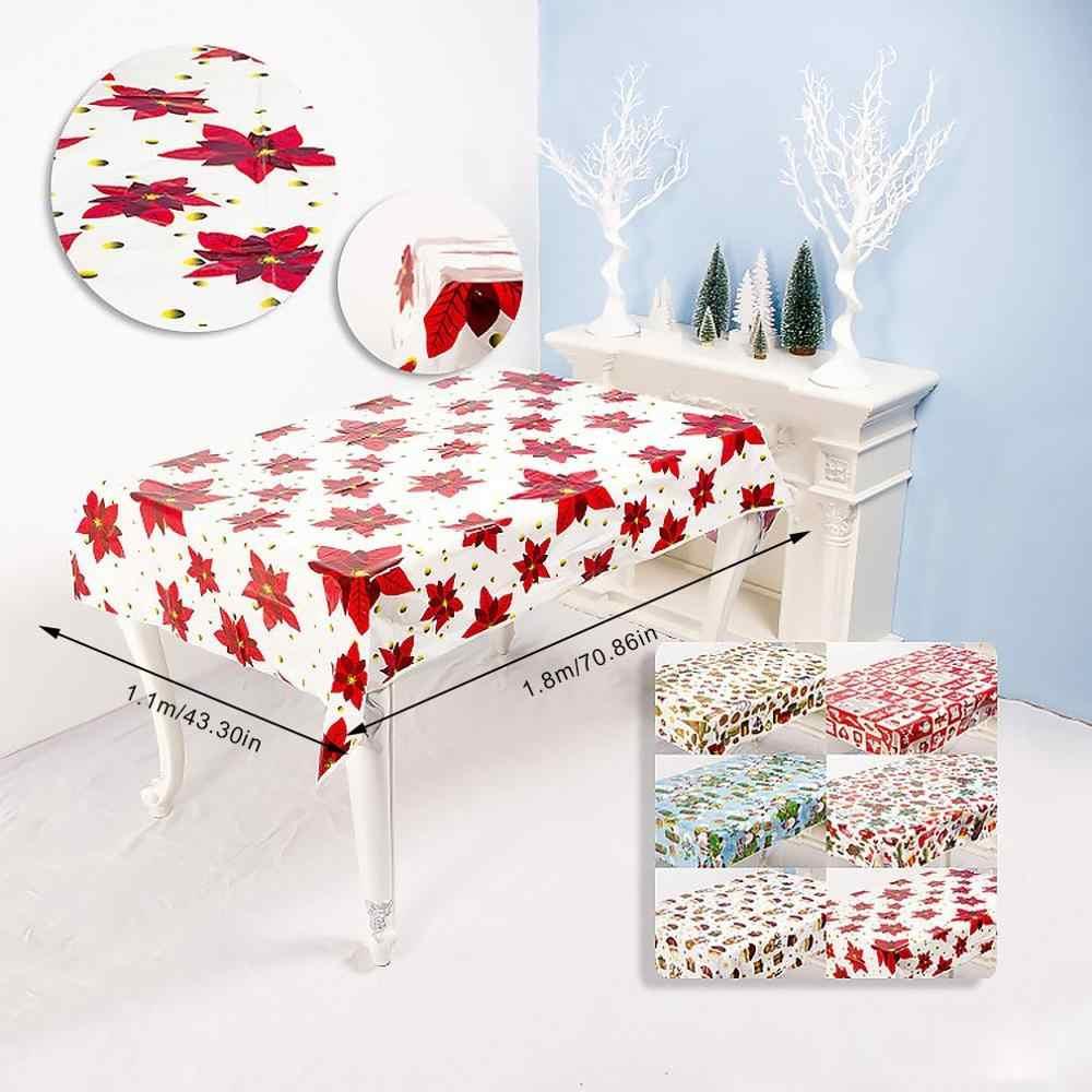 1pcs 110*180cm חג המולד בד שולחן ארוחת ערב חדש שנה מודפס מלבן PVC מפת שולחן חג המולד שולחן כיסוי קישוטים