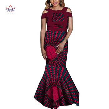 2020 New African Wax Print Party Dresses For Women Bazin Riche Cotton Long Dress Dashiki Cause African Fashion Clothing WY6642