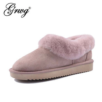 GRWG 100% Genuine Sheepskin leather Snow boots women Top quality Australia Boots Winter Boots for women Warm Botas Mujer