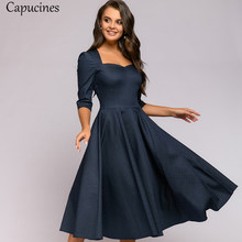 Capucines 2020 Autumn Vintage Square Collar Dot Print Dress Women 3/4 Sleeve A Line Bow Tie Backless Sexy Mid-Calf Dresses