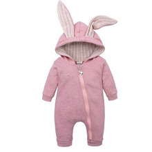 Коллекция года, милый осенне-зимний комбинезон для маленьких мальчиков, одежда для маленьких девочек Комбинезон с заячьими ушками теплая одежда на возраст от 0 до 24 месяцев