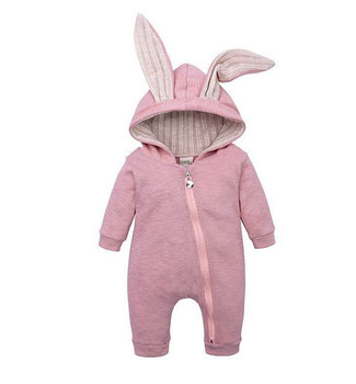 2019 One-piece Cute Autumn Winter Baby Boy Romper Baby Girl Clothes Rabbit Ears Jumpsuit Overall Warm Clothing 0-24M children girls baby cute ears quilted cotton baby clothes winter girl coat clothing fashion hot sale warm boy jacket