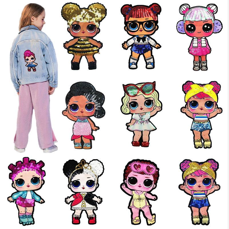 Cartoon Doll Sequin Cute Sew On DIY Hoodie Clothes LOLS Patches Stickers High Quality Child Popular Jacket Surprised Girl Toy