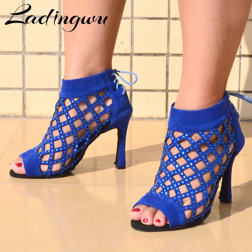 Ladingwu Dance Shoes Tango Ballroom Ladies  Latin Dance Shoes For Women Blue Suede With Rhinestones Optional Dancing Sandals