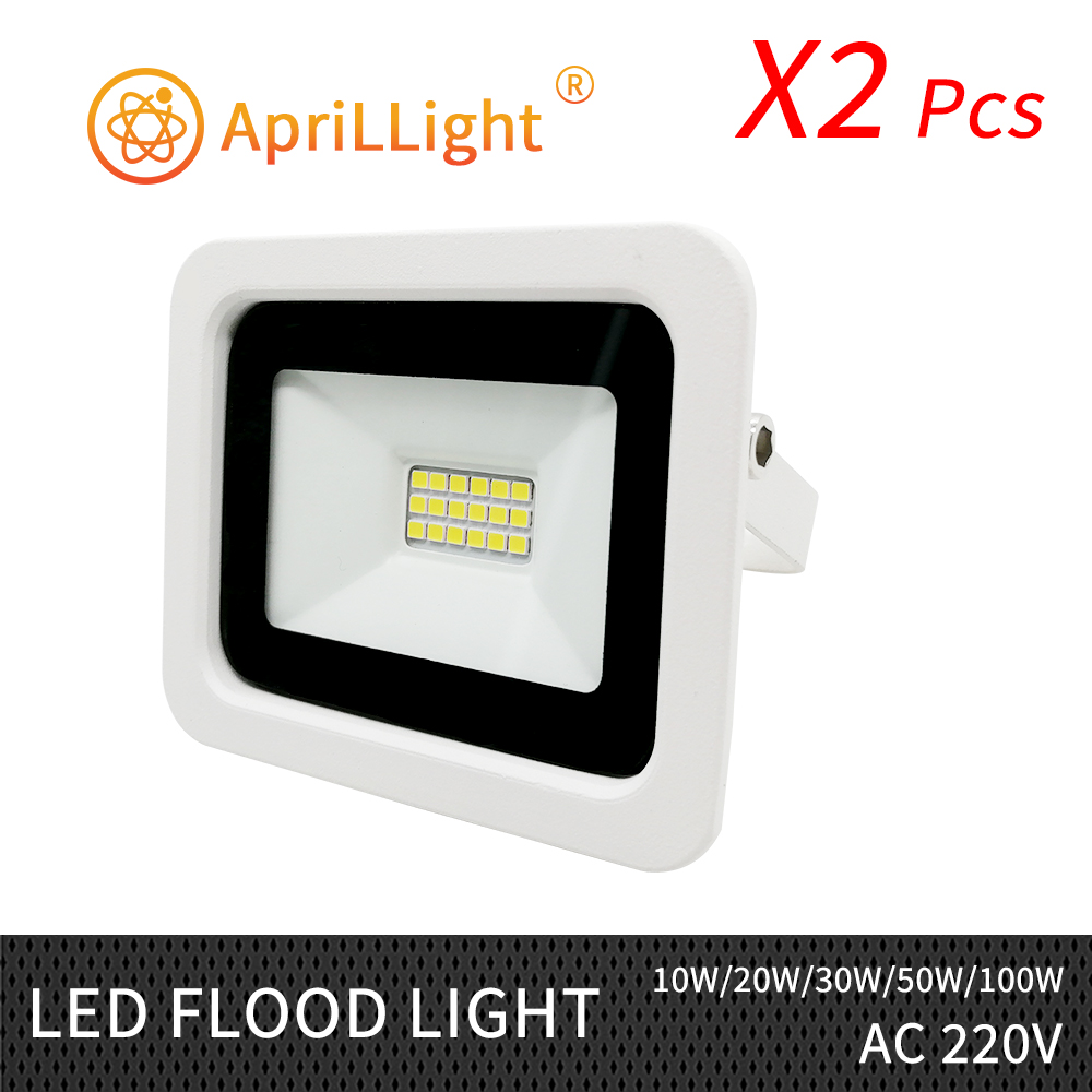 2pcs <font><b>LED</b></font> Flood Light Ultrathin Floodlight <font><b>10W</b></font> 20W 30W 50W 100W IP68Waterproof 220V 230V <font><b>LED</b></font> Spotlight <font><b>Reflector</b></font> Outdoor Lighting image
