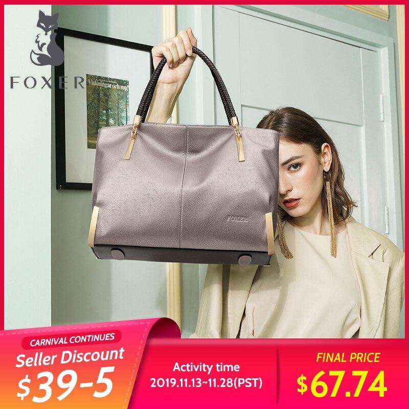 FOXER marque femmes sacs à main en cuir de vache femme sac à bandoulière concepteur de luxe dame fourre-tout grande capacité sac à main à glissière pour les femmes