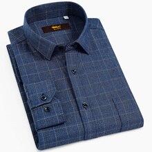 Chemise Standard à carreaux à manches longues, à carreaux brossé, avec fermeture à bouton de poche sur poitrine simple, décontracté 100%, chemises en coton, pour hommes