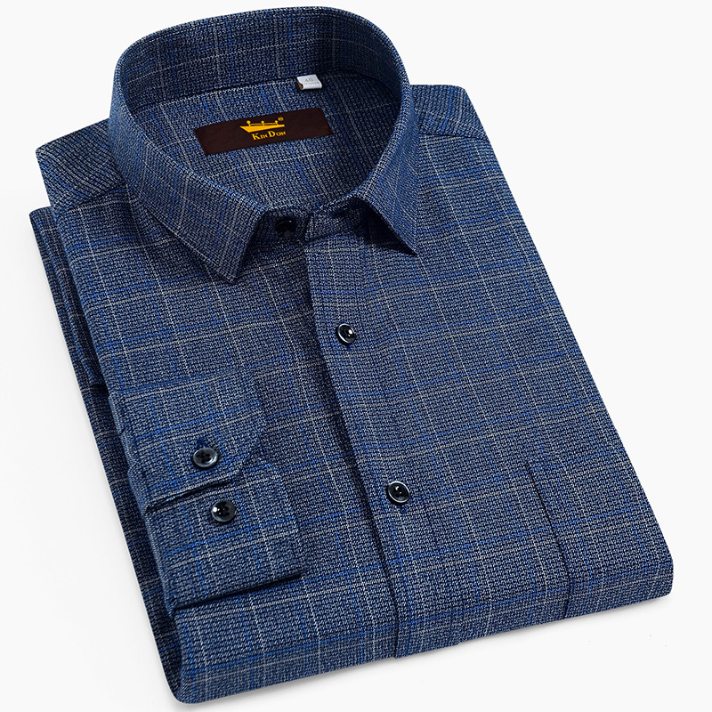 Men's Standard-Fit Long-Sleeve Brushed Plaid Checkered Shirt With Single Chest Pocket Button Closure Casual 100% Cotton Shirts