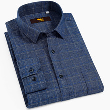 Mens Standard Fit Long Sleeve Brushed Plaid Checkered Shirt with Single Chest Pocket Button Closure Casual 100% Cotton Shirts